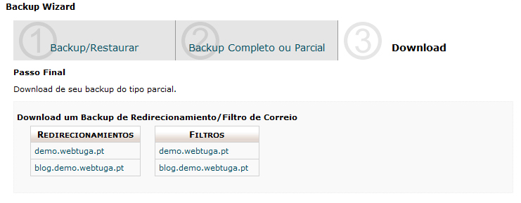 cPanel Backup Filtros e Redirects