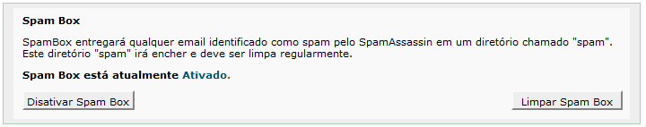 cPanel Spam Box